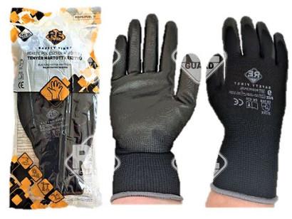 Safety First Poliészter kesztyű, PU tenyérmártott, fekete méret: 6 (sárga)