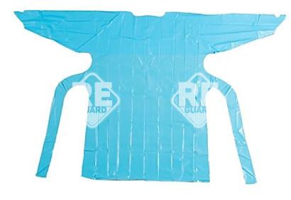 Látogató köpeny fólia anyagból, kötős, kék, L 118x102cm