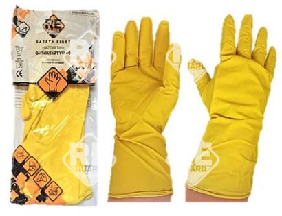Safety First Háztartási gumikesztyű, sárga, flokkolt 40g méret: 7