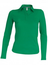 Póló Kariban 244 női, galléros, hosszú ujjú, piqué, pamut, kelly green 2XL