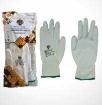 Safety First Poliészter kesztyű, PU tenyérmártott, fehér