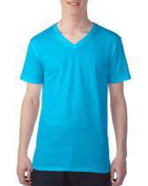Póló Anvil 362, V-nyakú, pamut, caribbean kék L