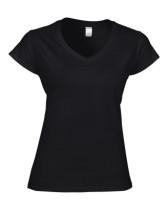 Póló Gildan 64V00 női, V-nyakú, pamut, fekete, 2XL