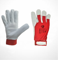 Safety First Juhbőr kesztyű, piros kézhát, elasztikus és tépőzáras mandzsetta