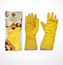 Safety First Háztartási gumikesztyű, sárga, flokkolt 40g
