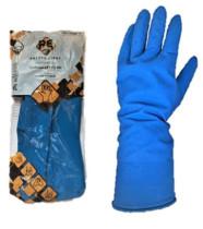 Safety First Háztartási gumikesztyű, kék, flokkolt 60g