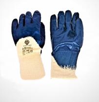 Safety First Kék ökölcsontig nitril mártott pamutkesztyű, egy méret