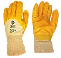 Safety First Sárga ökölcsontig nitril mártott pamutkesztyű, egy méret